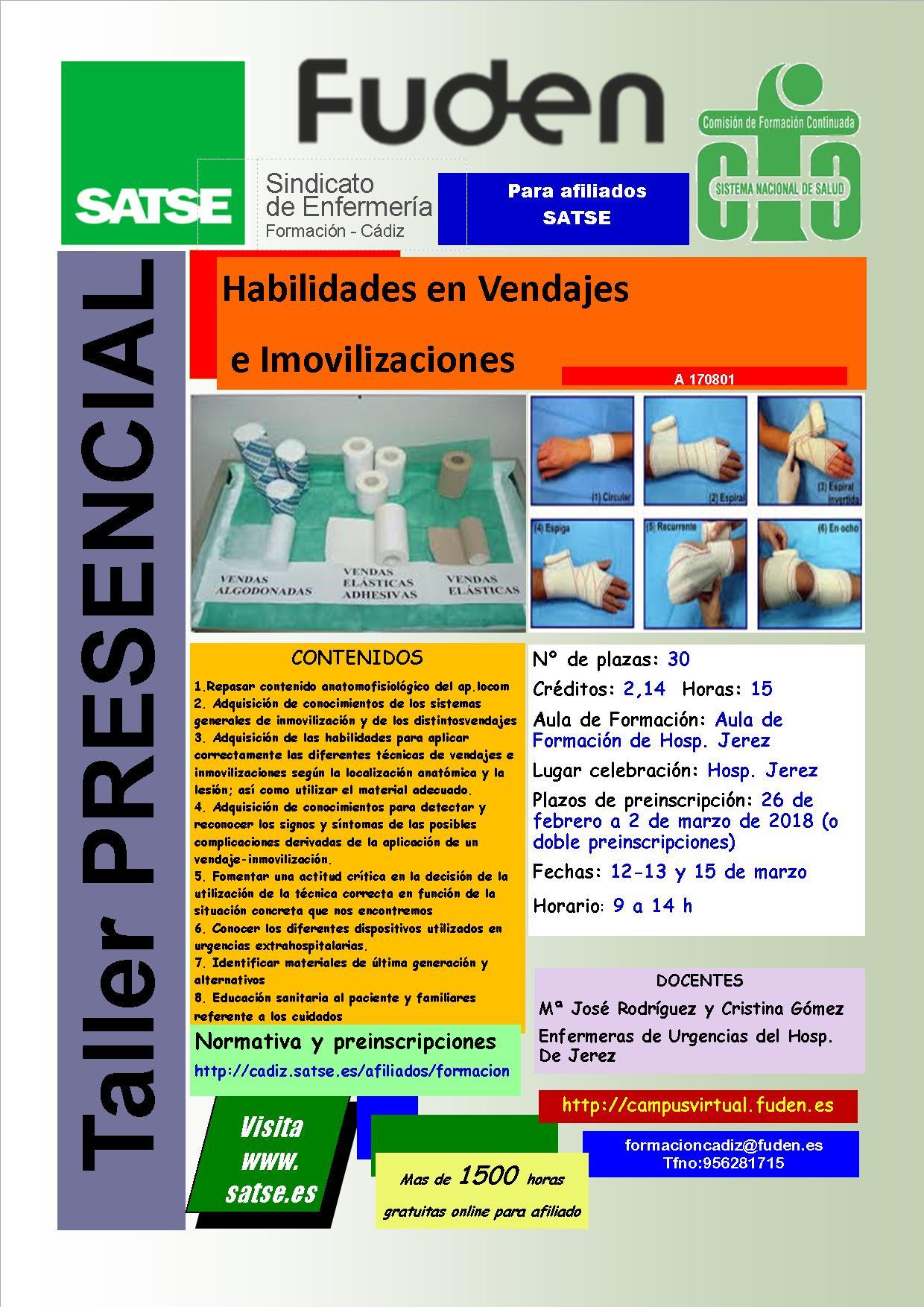 2018-SATSE Jerez - Habilidades en vendajes e inmovilizaciones