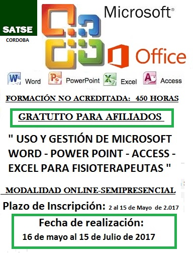 USO Y GESTIÓN DE MICROSOFT WORD - POWER POINT - ACCESS - EXCEL PARA FISIOTERAPEUTAS