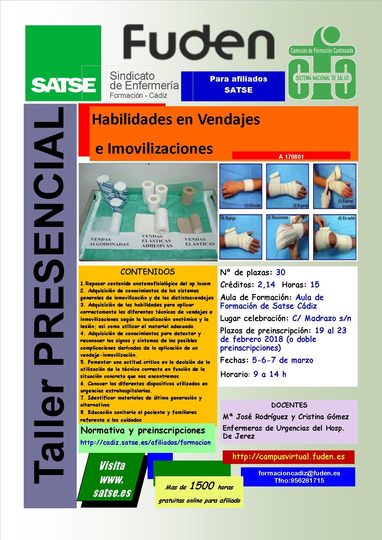 2018-SATSE Cádiz - Habilidades en vendajes e inmovilizaciones